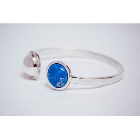 Bratara argint 925 cu semisfera argint si haolit cabochon albastru, handmade &handcrafted, Bijuterii de argint lucrate manual, handmade