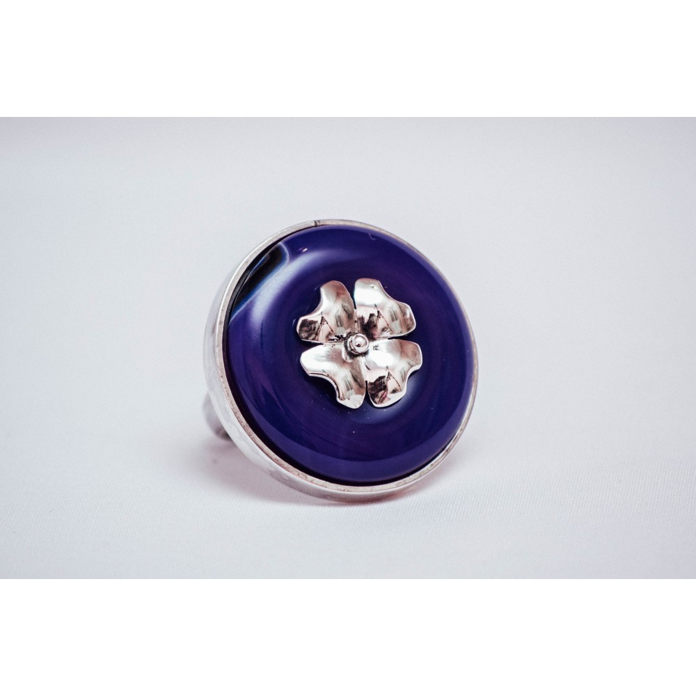 Sterling silver ring with round purple agate with silver clover, engraved, handmade & and handcrafted