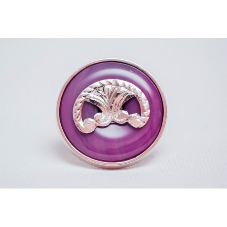 Sterling silver ring with round, pink-purplish agate, handmade &handcrafted, Bijuterii de argint lucrate manual, handmade