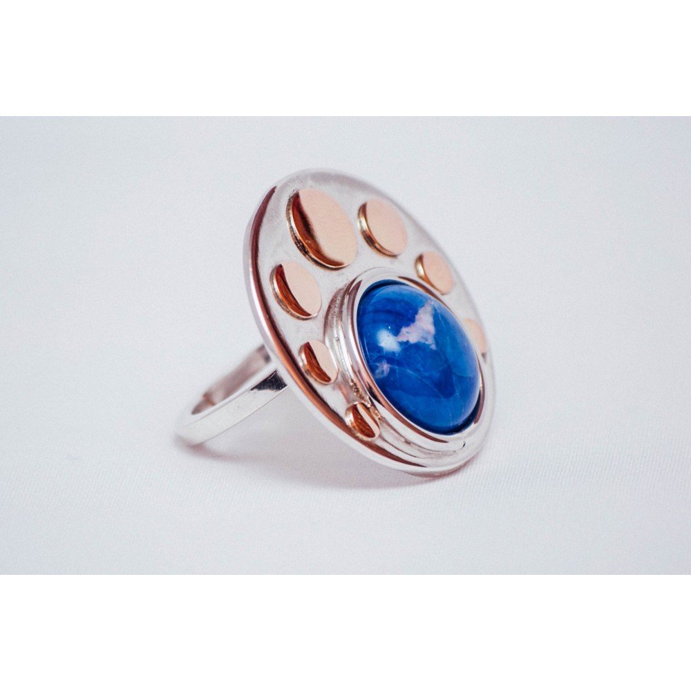 Sterling silver ring with bluish cabochon haolite and 14K gold rounds, handmade &handcrafted