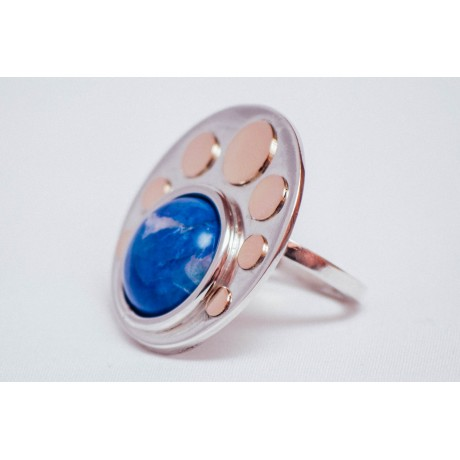 Sterling silver ring with bluish cabochon haolite and 14K gold rounds, handmade &handcrafted, Bijuterii de argint lucrate manual, handmade