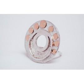 Inel argint 925 cu rotunduri de aur 14K, handmade & handcrafted