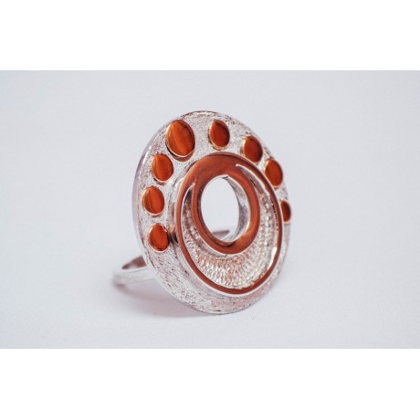 Inel argint 925 cu rotunduri de aur 14K, handmade & handcrafted, Bijuterii de argint lucrate manual, handmade
