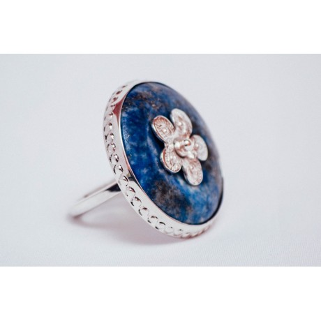 Sterling silver ring with round lapislazuli, engraved, handmade&handcrafted , Bijuterii de argint lucrate manual, handmade