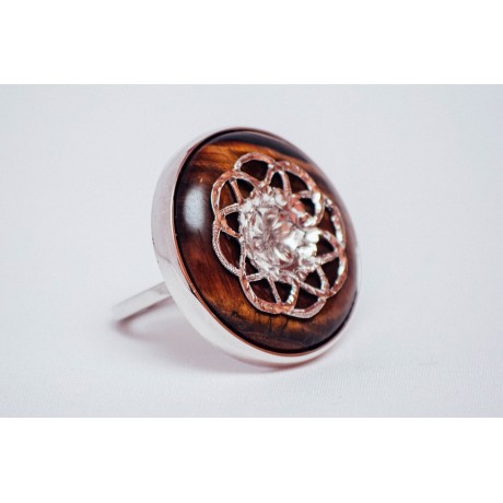 Sterling silver ring with round tiger's eye stone, engraved, handmade&handcrafted , Bijuterii de argint lucrate manual, handmade
