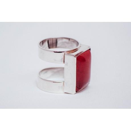Sterling silver ring with rectangular reddish jaspe stone, handmade&handcrafted, Bijuterii de argint lucrate manual, handmade