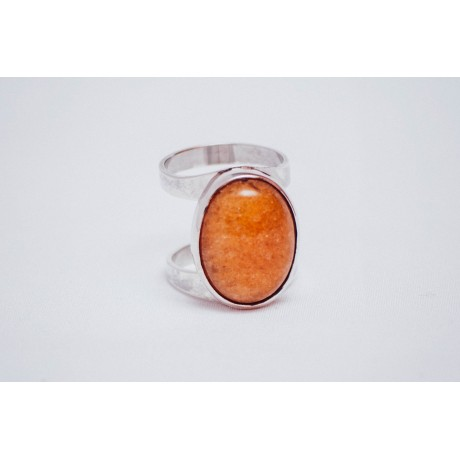 Sterling silver ring  with yellowish oval jade stone, handmade & handcrafted, Bijuterii de argint lucrate manual, handmade