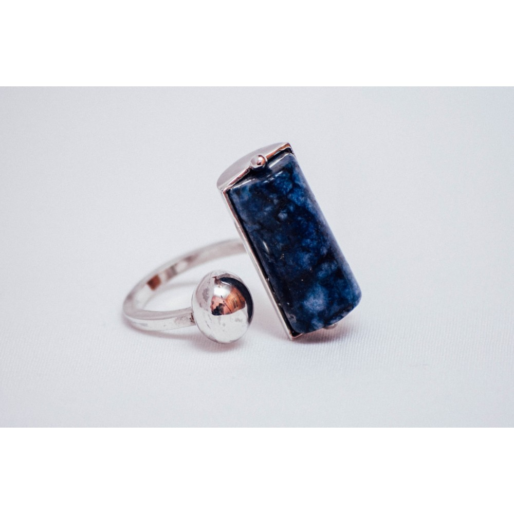 Sterling silver ring with silver ball and cylinder lapislazuli, handmade& handcrafted