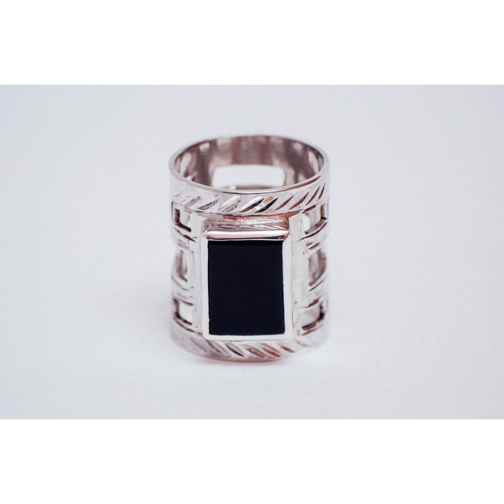 Sterling silver ring with rectangular black onyx, engraved, handmade& handcrafted