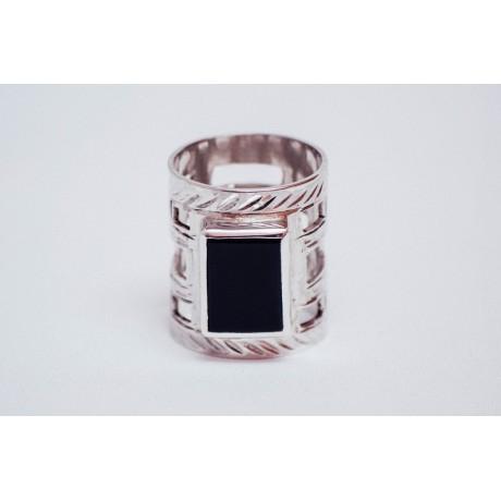 Sterling silver ring with rectangular black onyx, engraved, handmade& handcrafted, Bijuterii de argint lucrate manual, handmade