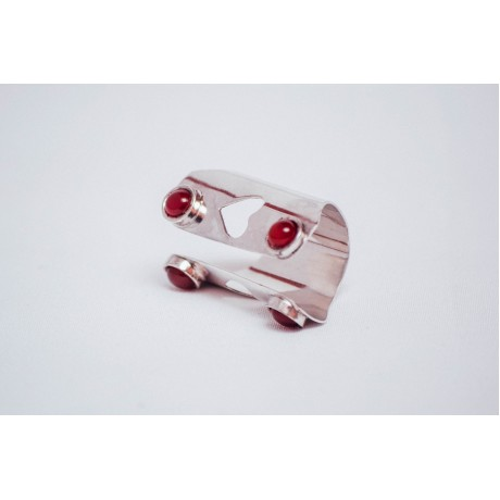 Sterling silver ring with four cornalines, handmade& handcrafted, Bijuterii de argint lucrate manual, handmade