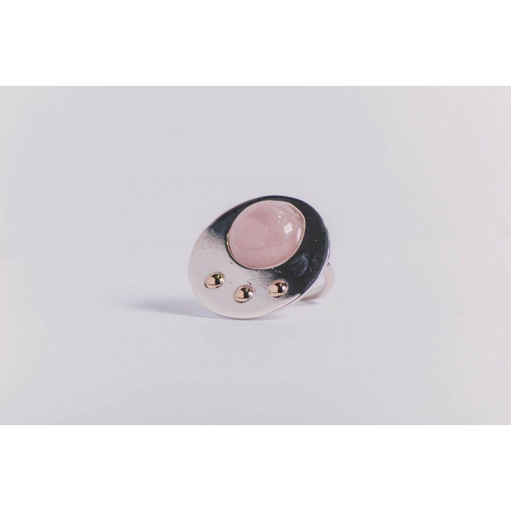 Sterling silver ring with gold and round cabochon pink quartz , handmade& handcrafted