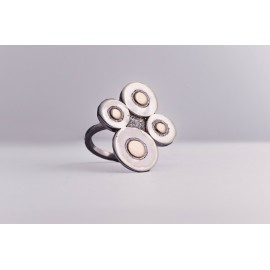 Sterling silver ring with four silver rounds and four gold rounds, handmade & handcrafted