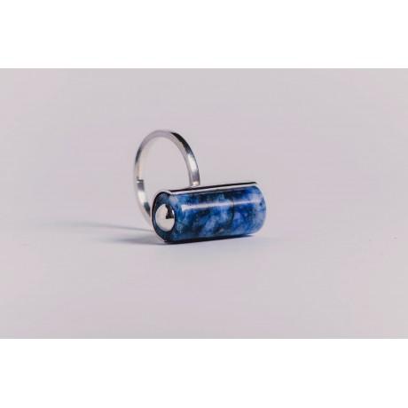 Inel argint 925 cu lapis lazuli cilindric, handmade & handcrafted, Bijuterii de argint lucrate manual, handmade