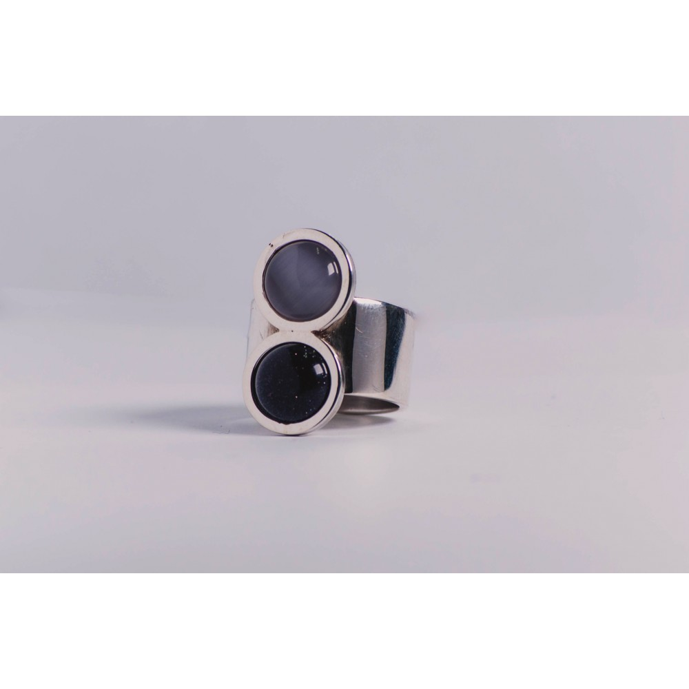 Wide sterling silver ring with milky grey cat's eye stone and deep violet cat's eye stone, handmade& handcrafted