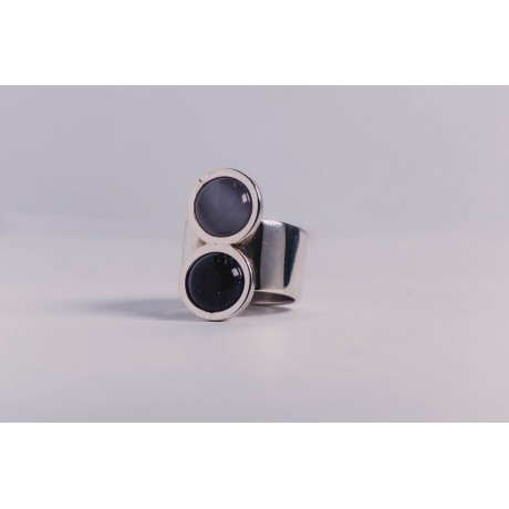 Wide sterling silver ring with milky grey cat's eye stone and deep violet cat's eye stone, handmade& handcrafted, Bijuterii de argint lucrate manual, handmade