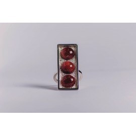 Sterling silver ring, with three round cabochon sun stones, vertical & rectangular,  handmade & handcrafted