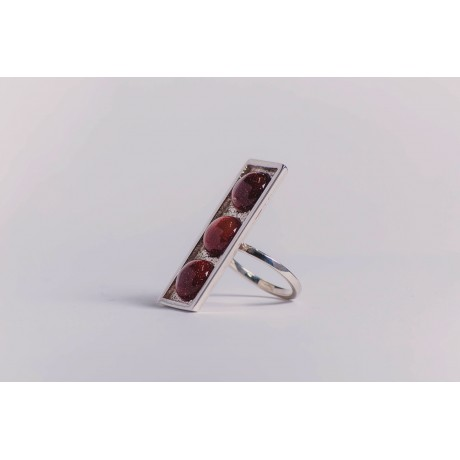 Sterling silver ring, with three round cabochon sun stones, vertical & rectangular,  handmade & handcrafted, Bijuterii de argint lucrate manual, handmade