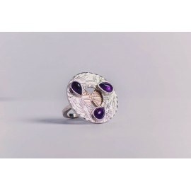 Sterling silver ring, with three teardrop-shaped amethyst stones, 14 k gold, engraved, handmade& handcrafted, Bijuterii de argint lucrate manual, handmade