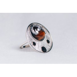 Large sterling silver ring with cabochon hazel Tiger's eye and three gold rounds