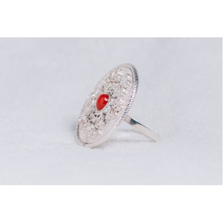 Large sterling silver ring, with filigree work and central cornaline, Bijuterii de argint lucrate manual, handmade