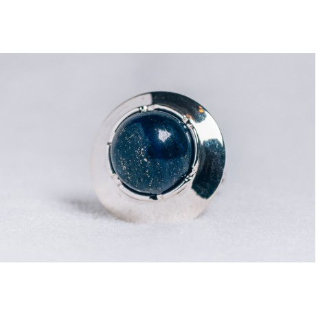 Large sterling silver jewel with lapis lazuli stone, Bijuterii de argint lucrate manual, handmade