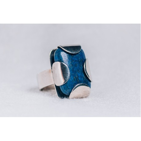 Large sterling silver ring with rectangular lapis lazuli, Bijuterii de argint lucrate manual, handmade