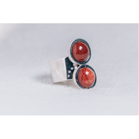 Large sterling silver ring with two sun stones and interior imprint, Bijuterii de argint lucrate manual, handmade