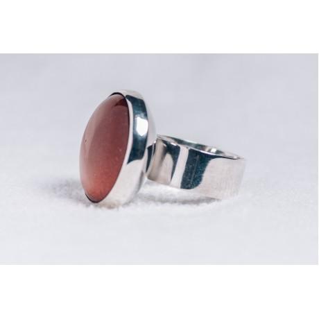 Large sterling silver ring with Sun stone, Bijuterii de argint lucrate manual, handmade