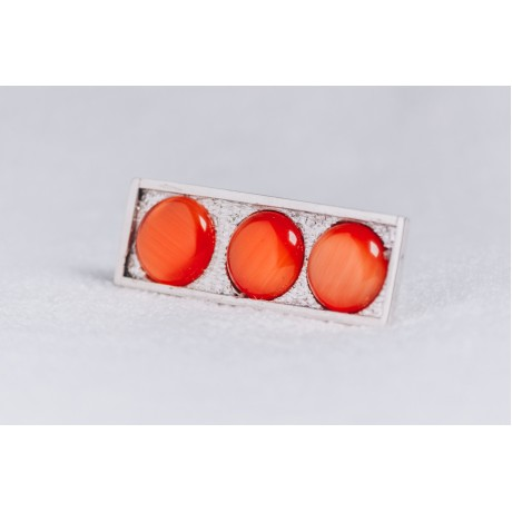 Large sterling silver ring with three orange cat's eye stones, Bijuterii de argint lucrate manual, handmade