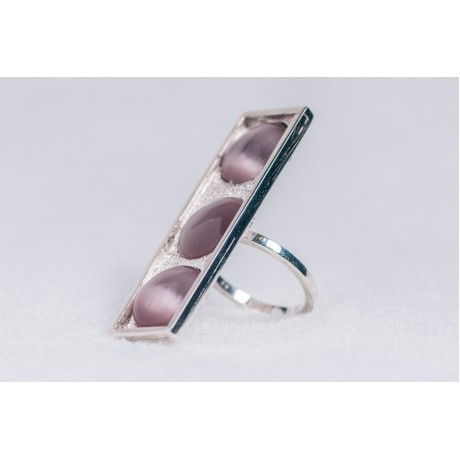 Large sterling silver ring with three light purplish cat's eye stones, Bijuterii de argint lucrate manual, handmade
