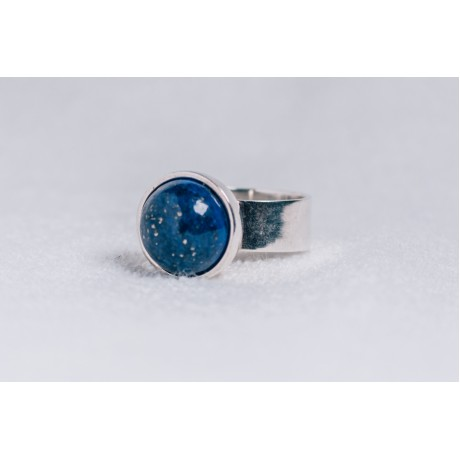 Large sterling silver ring, with lapislazuli, Bijuterii de argint lucrate manual, handmade