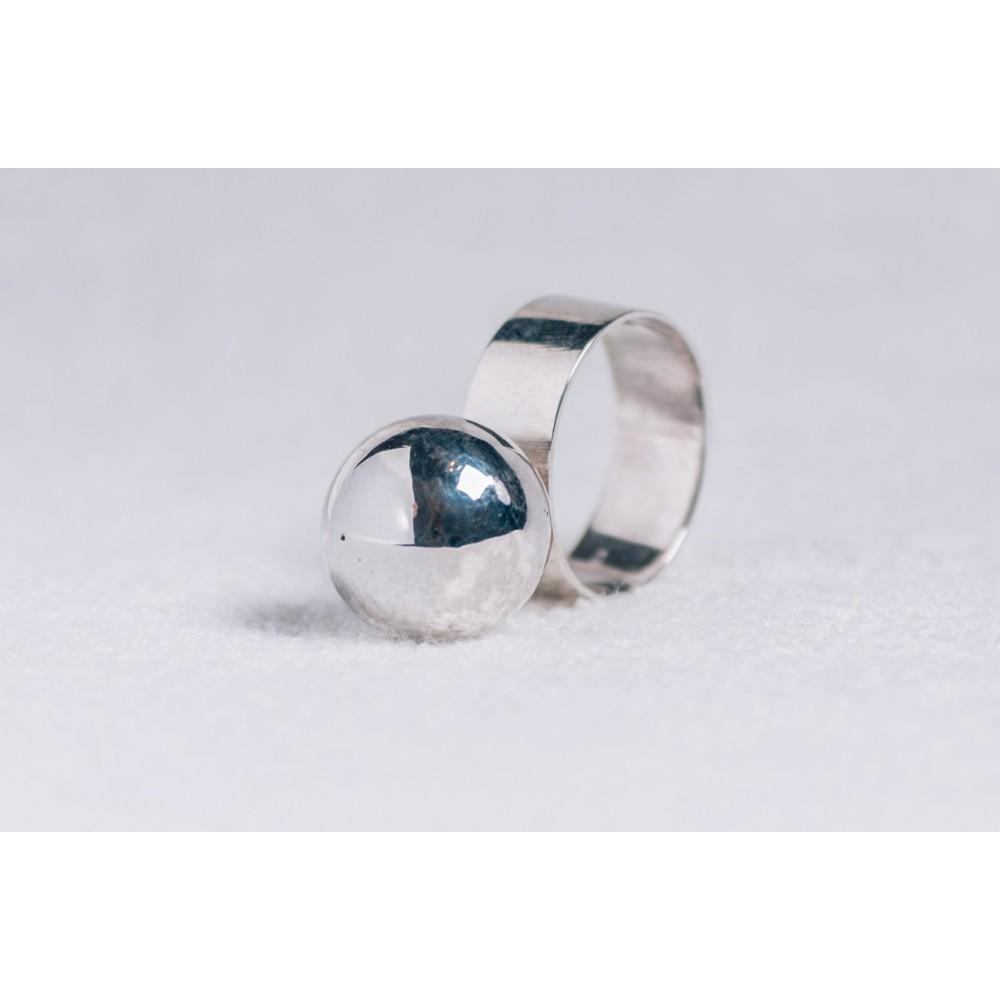 Inel argint 925 cu bila mare argint