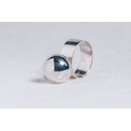 Sterling silver ring with big silver ball
