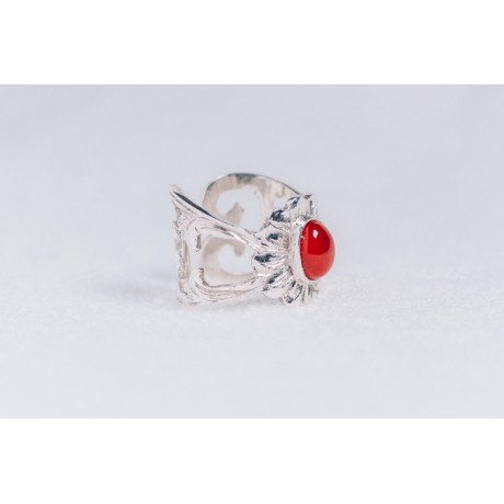 Sterling silver ring with cornalin, Bijuterii de argint lucrate manual, handmade