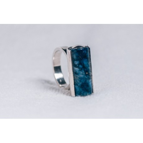Large sterling silver ring with lapis tube, Bijuterii de argint lucrate manual, handmade
