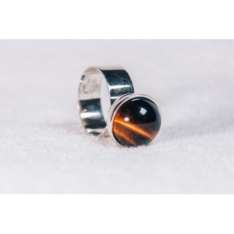 Large sterling silver ring with tiger's eye stone, Bijuterii de argint lucrate manual, handmade