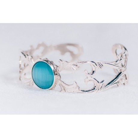 Sterling silver bracelet with light blue cat's eye stones, Bijuterii de argint lucrate manual, handmade