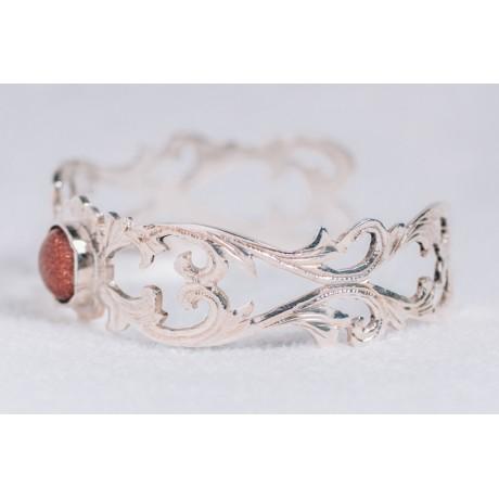 Sterling silver bracelet with sun stone, engraved, Bijuterii de argint lucrate manual, handmade