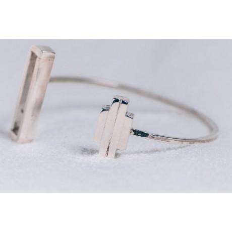 Sterling silver bracelet, geometrical, Bijuterii de argint lucrate manual, handmade
