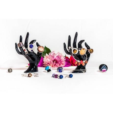 Sterling silver bracelet with 4 sun's stones, coral Swarowski element and starry silver balls, handmade & handcrafted, Bijuterii de argint lucrate manual, handmade