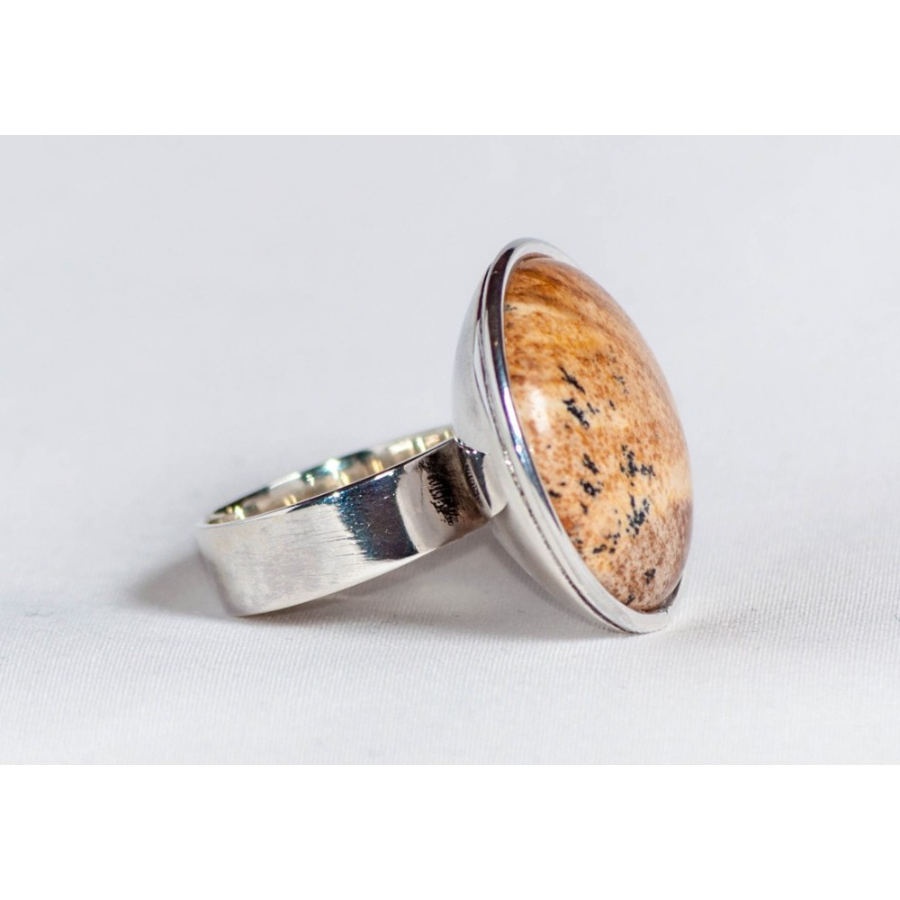 Large sterling silver ring with picture jasper stone, handmade & handcrafted, design by Ibralhoff