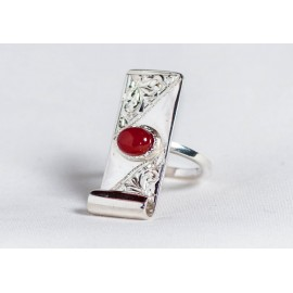 Large sterling silver ring with cornalin, engraved, handmade& handcrafted, design by Ibralhoff