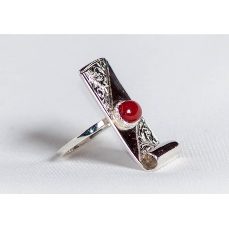 Large sterling silver ring with cornalin, engraved, handmade& handcrafted, design by Ibralhoff, Bijuterii de argint lucrate manual, handmade