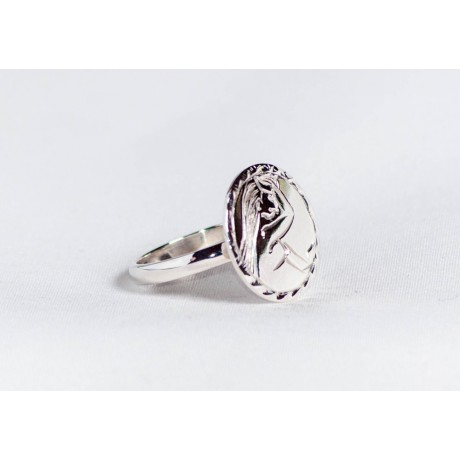 Sterling silver ring with engraved, gynocratic symbol, handmade & handcrafted, design by Ibralhoff, Bijuterii de argint lucrate manual, handmade