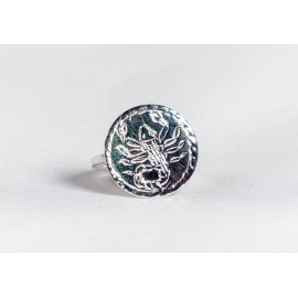 Sterling silver ring with symbol engraved, handmade & handcrafted, design by Ibrahoff