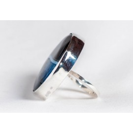 Large sterling silver ring with crystal agate, handmade & handcrafted, design by Ibralhoff