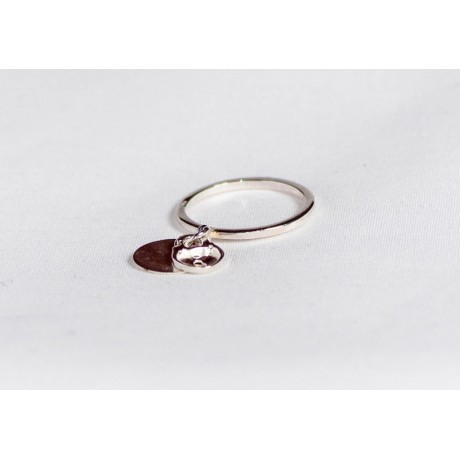 Sterling silver ring with circle and lock, handmade & handcrafted, Bijuterii de argint lucrate manual, handmade