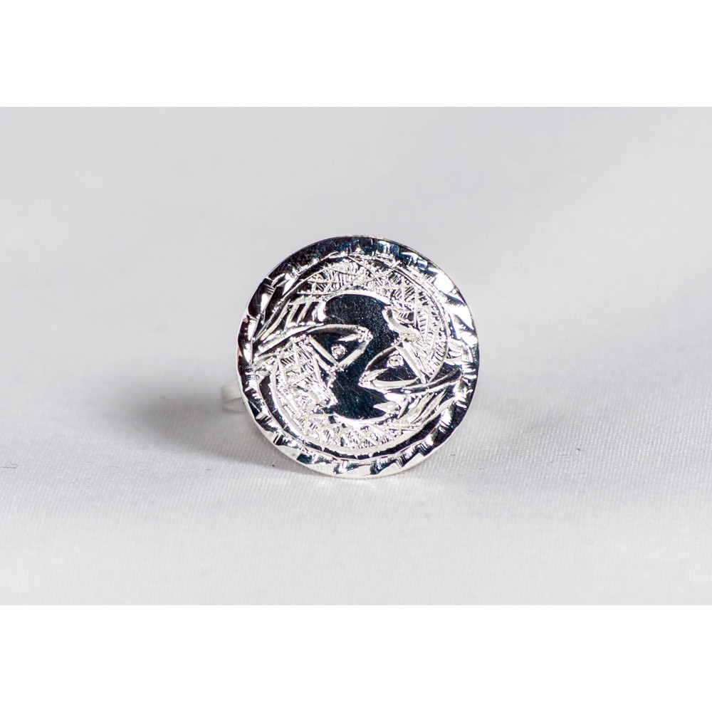 Sterling silver ring with engraved fish pair, handmade & handcrafted, design by Ibralhoff