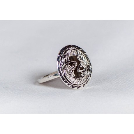 Sterling silver ring with engraved fish pair, handmade & handcrafted, design by Ibralhoff, Bijuterii de argint lucrate manual, handmade